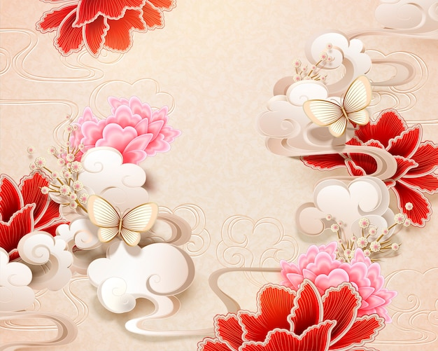 Elegant peony and butterfly background in paper art style