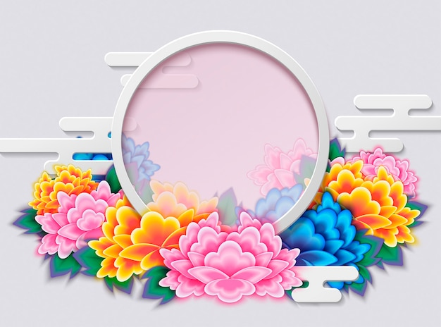 Elegant peony deco frame with round copy space