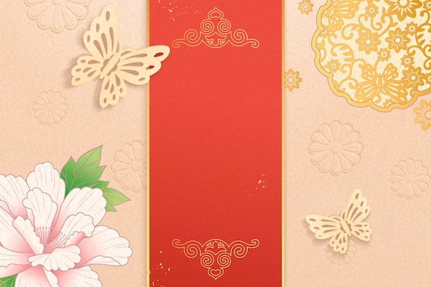 Elegant peony flowers with golden butterflies decorative background