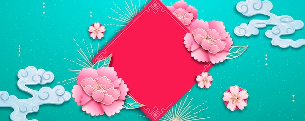 Elegant peony flowers with spring couplet on light blue background