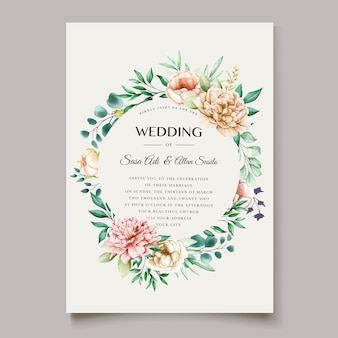 Elegant peony wedding invitation card template