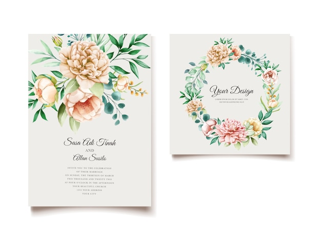 Elegant peony wedding invitation card template