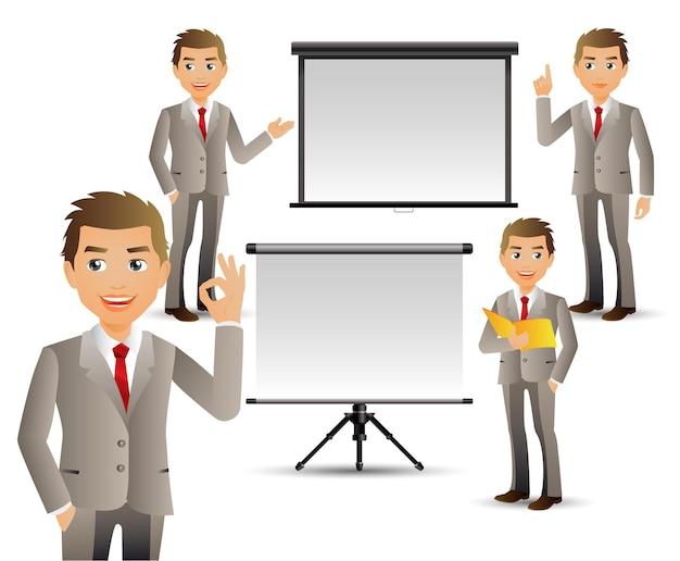 Элегантные люди-деловые люди, выступающие с презентацией