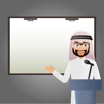 エレガントなピープルアラブのビジネスマンがマイクを持ってトリビューンに立ち、スピーチをします