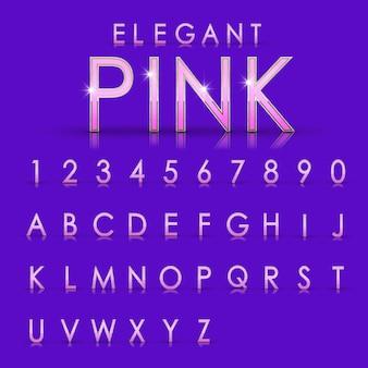 紫色の背景にエレガントなピンクのアルファベットと数字のコレクション