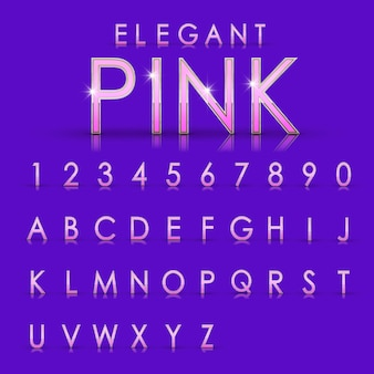 Elegant pink alphabets and numbers collection  on purple background