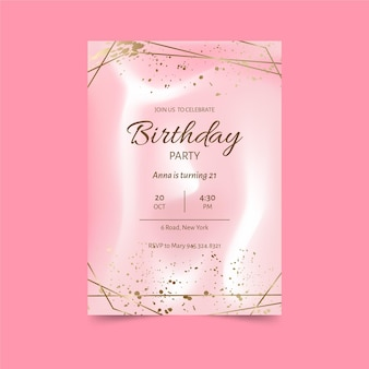 Elegant pink birthday invitation template