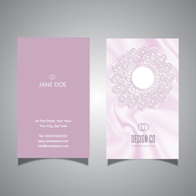 Elegant pink lace design business card template