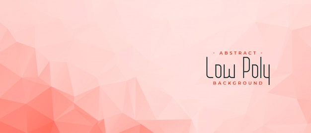 Elegant pink low poly banner with text space