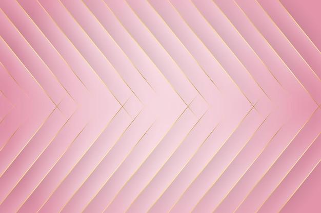斜めの金の線と影とエレガントなピンクのモダンな背景