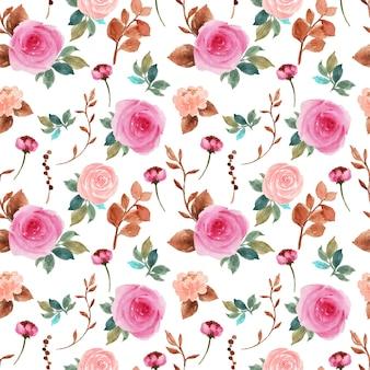 Elegant pink and peach vintage floral seamless pattern