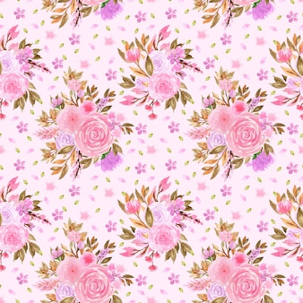 Elegant pink and purple seamless floral pattern