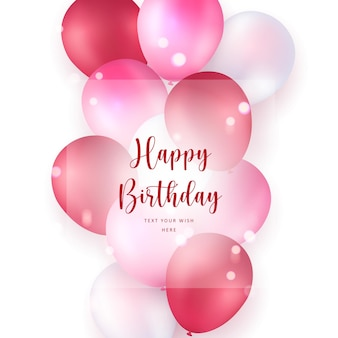 Elegant pink red ballon happy birthday celebration card banner template background