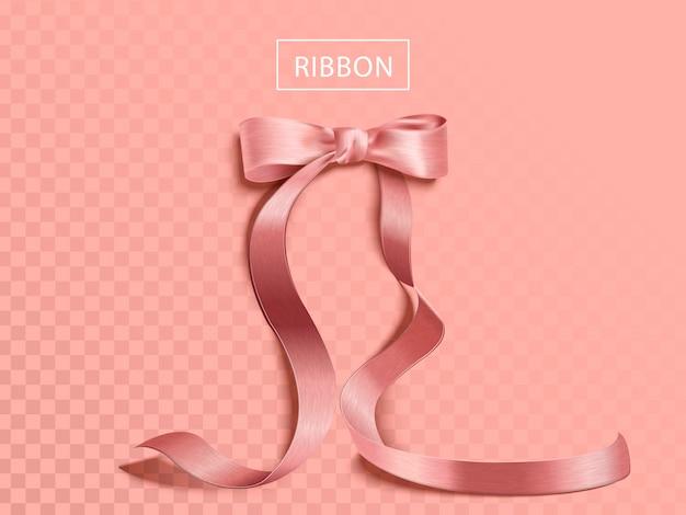 Элегантная розовая лента элемент, глянцевая текстура ленты изолированы