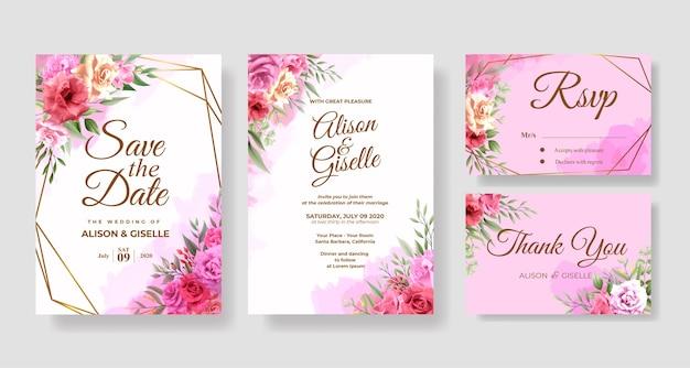 Elegant pink rose floral wedding invitation card template