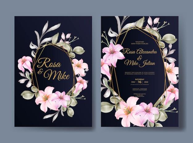 Элегантный цветочный шаблон свадебного приглашения с розовыми розами