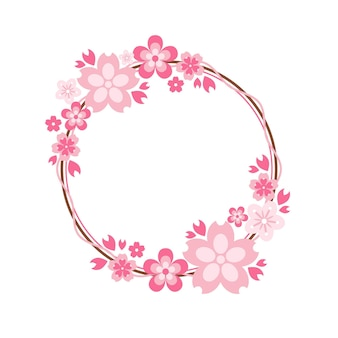 Elegant pink sakura frame