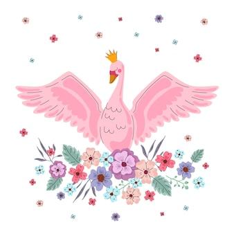Elegant pink swan princess