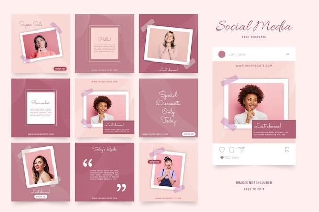 ソーシャルメディアフィード用のエレガントなピンクのテンプレート