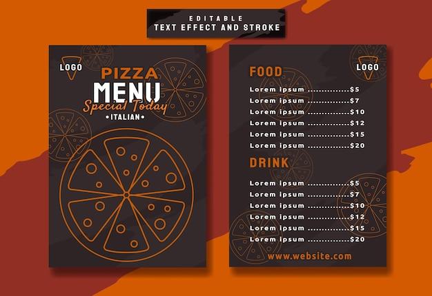 Elegant pizza restaurant menu template
