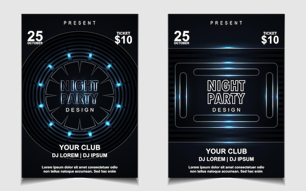 Elegant poster template for electro music festival with blue light