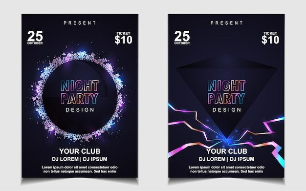 Elegant poster template for electro music festival with colorful light