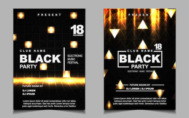 Elegant poster template for electro music festival with golden light