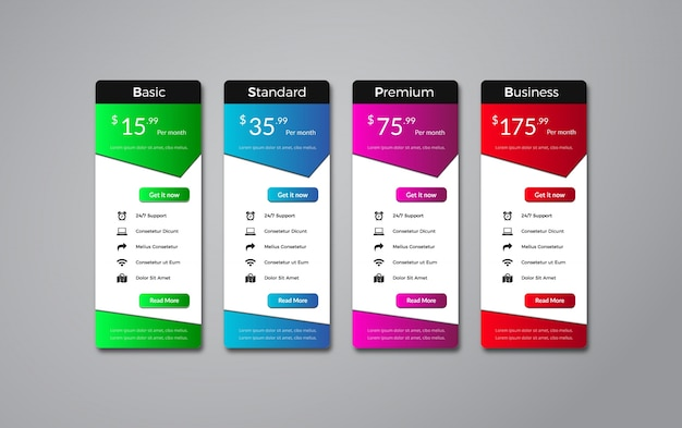 Elegant pricing table template design