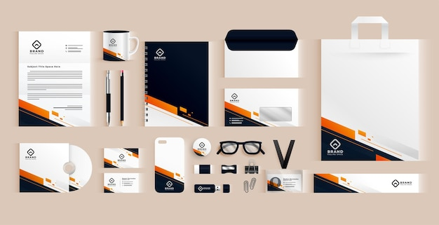 Elegant professional business stationery items set