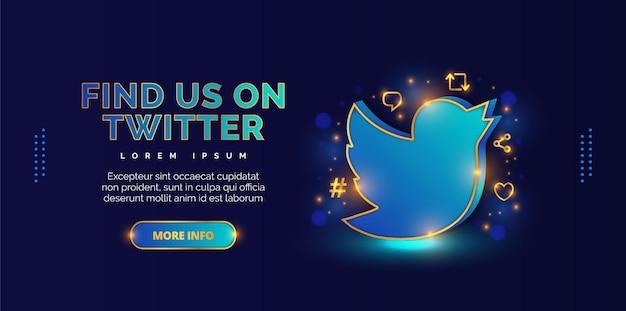 Twitterアカウントを紹介するエレガントなプロモーションデザイン