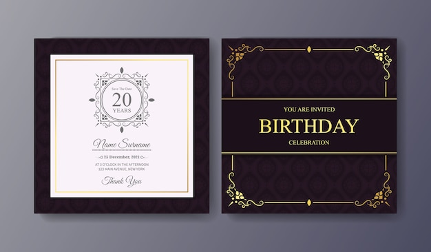 Elegant purple birthday invitation template