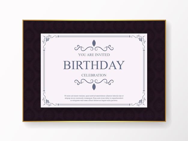 Elegant purple birthday invitation template