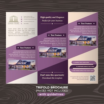 Elegant purple business design trifold brochure template