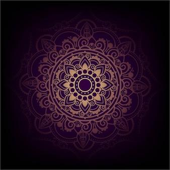 Elegant purple and golden mandala design