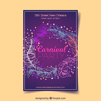 Elegant purple poster template for carnival