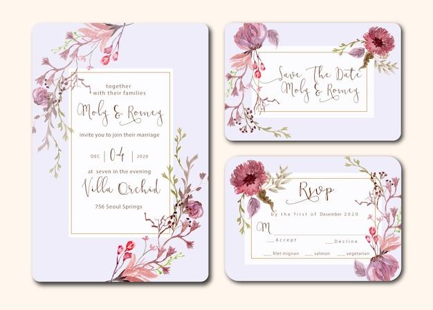 花の水彩画とエレガントな紫色の結婚式の招待状