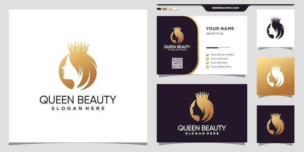 黄金のグラデーションスタイルの色と名刺デザインプレミアムベクトルとエレガントな女王の美しさのロゴ