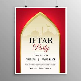Elegant ramadan iftar party event invitation template
