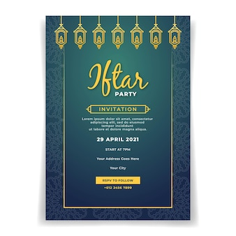 Elegant ramadan iftar party invitation poster template
