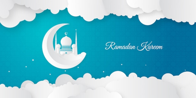 Elegant ramadan kareem background with mosque and crescent decoration