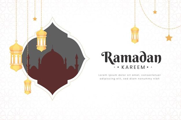 美しい抽象的な曼荼羅とモスクとエレガントなラマダンカリームバナー