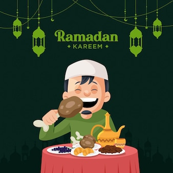 Elegant ramadan kareem greeting card design with muslim man eating food