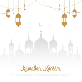 Elegant ramadan kareem greeting card design