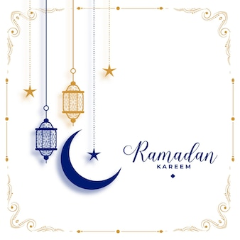 Elegant ramadan kareem white greeting decorative