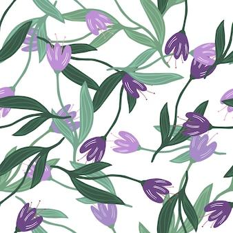 Elegant random tulip seamless pattern on white background.