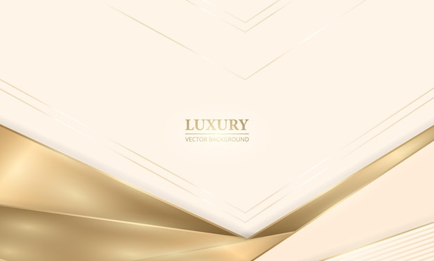 Elegant realistic cream shade luxury design background with golden lines and shadows