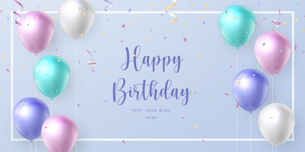 Elegant realistic pastel color ballon and ribbon happy birthday celebration card banner template background