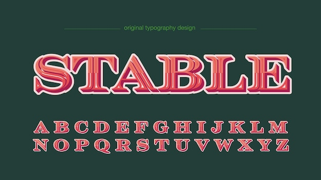 Elegant red 3d serif isolated letters for labels