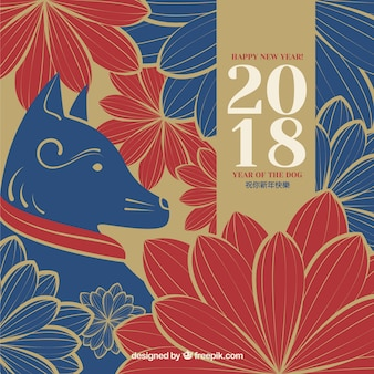 Elegant red and blue chinese new year background