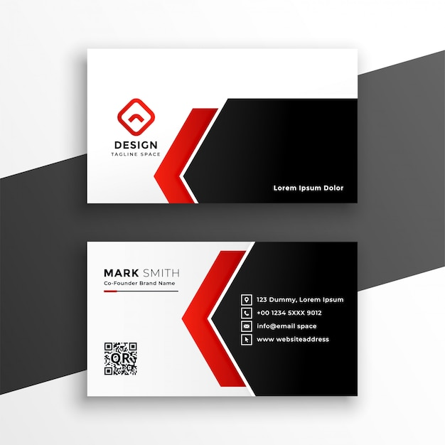 Elegant red business card with geometric shapes